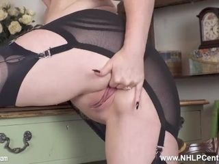 In nylons and stilettos office buxomy sandy-haired cougar finger plows gash to ejaculation