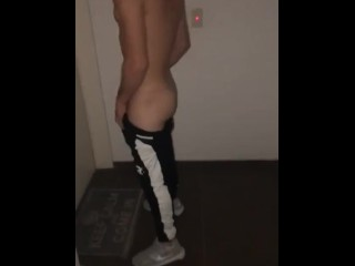 Argentinian dude Angel jacking off in the stairwell