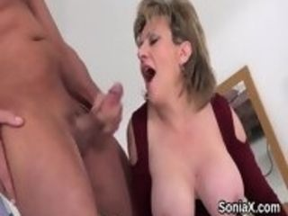 Hotwife english mature woman sonia displays her good-sized funbags
