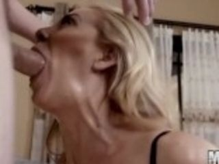 """BLONDE meaty boobed cougar CHERIE DEVILLE GETS FACEFUCKED AND FACIALIZED!"""