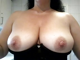 Wife Rubbing Lotion on Her Tits