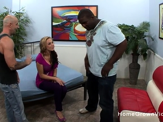 Spouse observes as I smash his super-sexy monstrous jug wifey