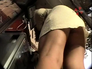 Chinese college girl upskirt in public
