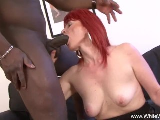 Ginger-haired grandma heads full multiracial practice With big black cock